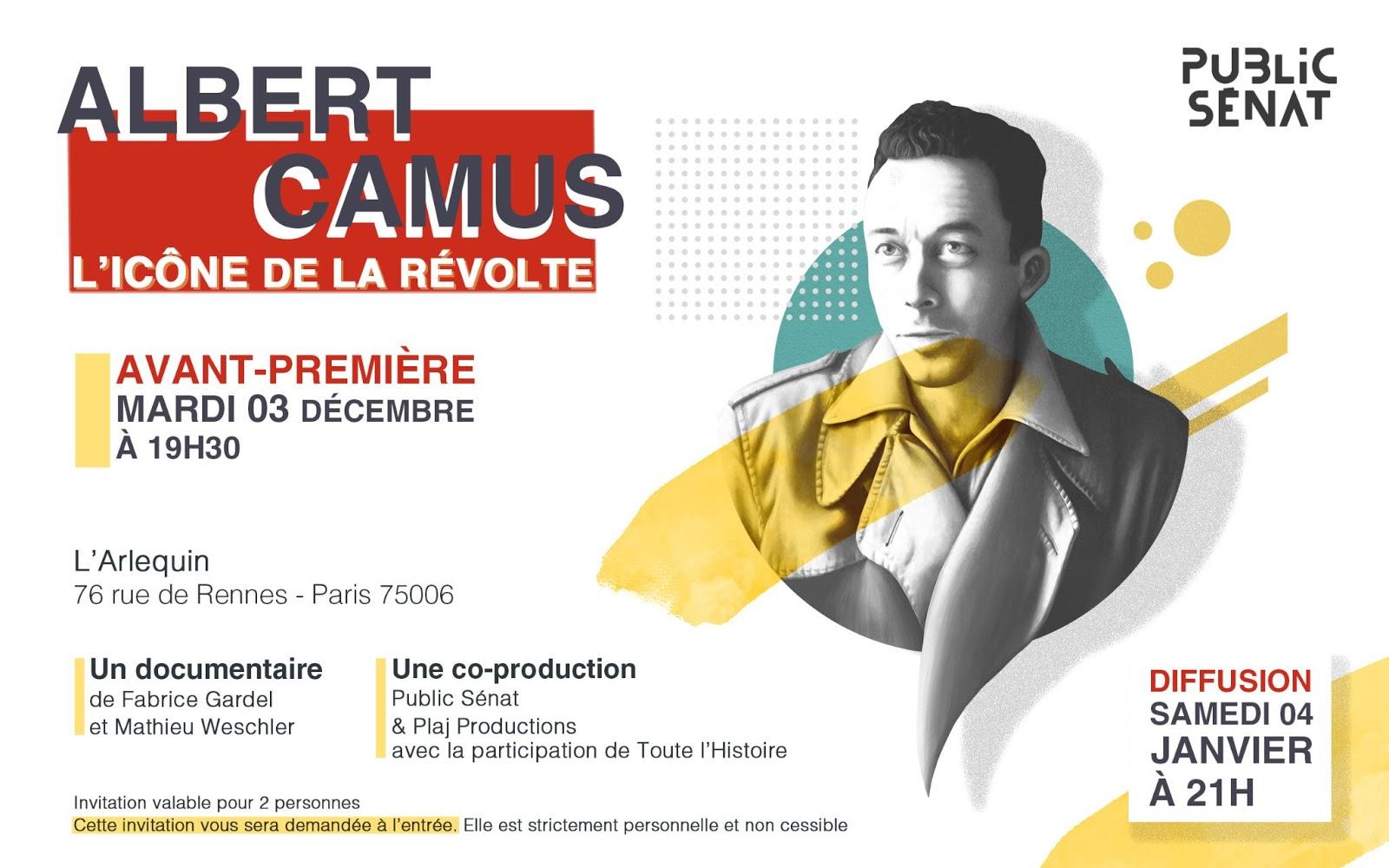 """Read more about the article Focus sur… """"Albert Camus, l'icône de la révolte"""", documentaire diffusé ce 4 janvier 2020 à 21h sur Public Sénat"""
